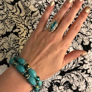 Jewelry - Turquoise and Blue Beaded Stretch Bracelet